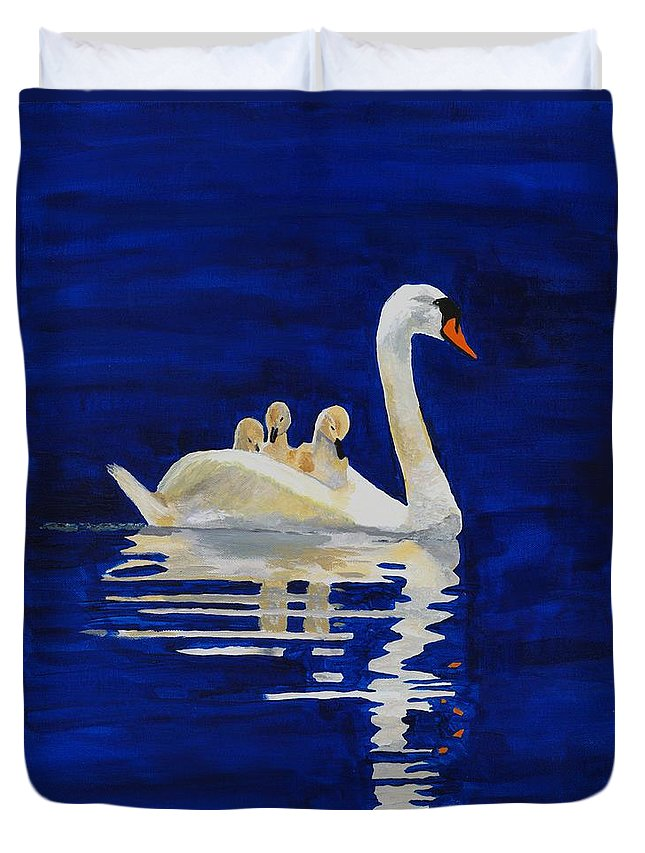 Swan Duvet Cover featuring the painting Safe Harbor by Rodney Campbell