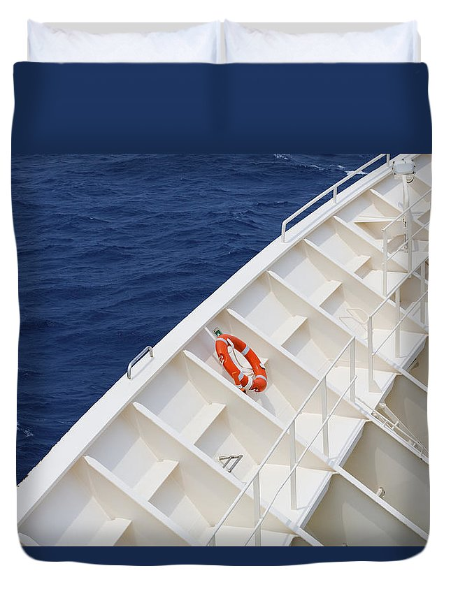 Life Belt Duvet Cover featuring the photograph Safety At Sea by Diane Macdonald