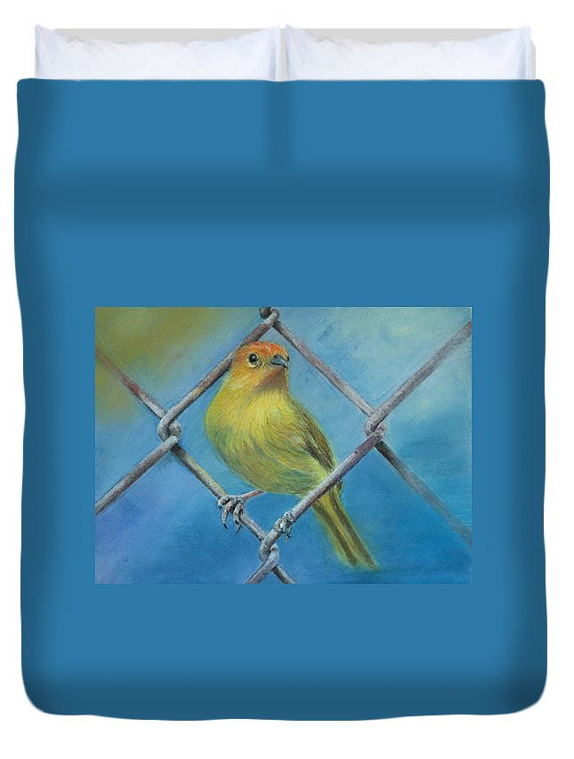 Bird Duvet Cover featuring the painting Safron Finch by Ceci Watson