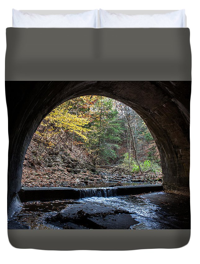 Sagamore Duvet Cover featuring the photograph Sagamore Creek Tunnel Entry by Claus Siebenhaar