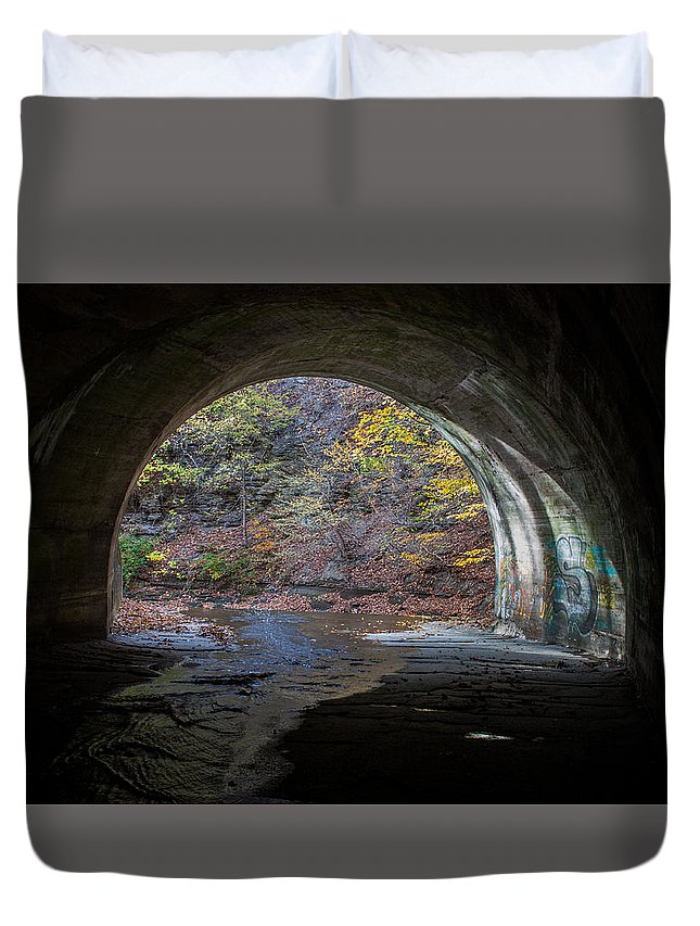 Sagamore Duvet Cover featuring the photograph Sagamore Creek Tunnel Exit Interior by Claus Siebenhaar