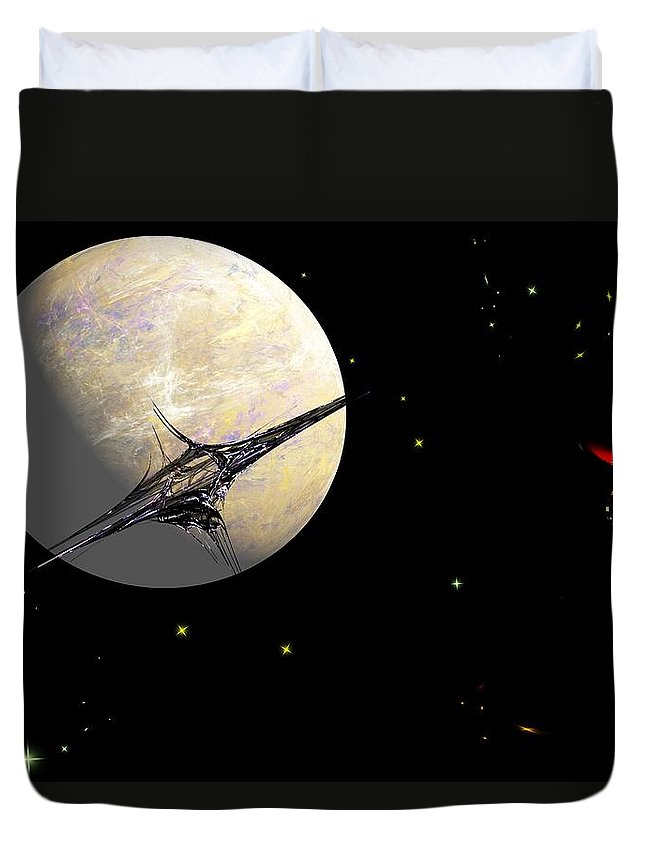Abstract Duvet Cover featuring the digital art Sagan Station At Betelgeuse IIi by David Lane