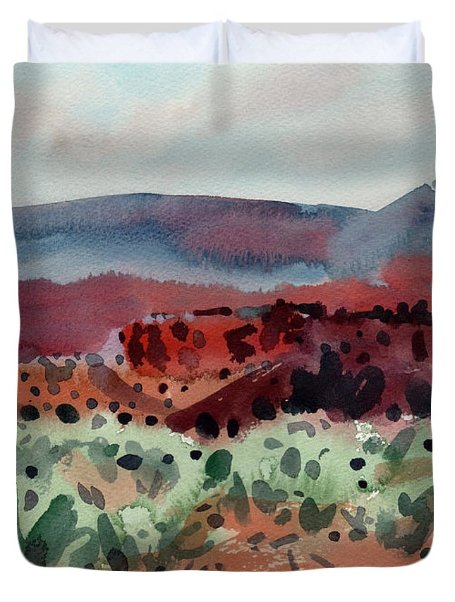 Southwestern Landscape Duvet Cover featuring the painting Sage Sand And Sierra by Donald Maier