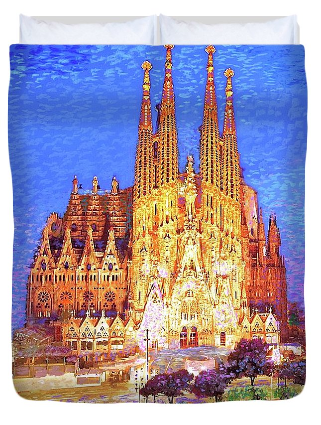 Spain Duvet Cover featuring the painting Sagrada Familia At Night by Jane Small