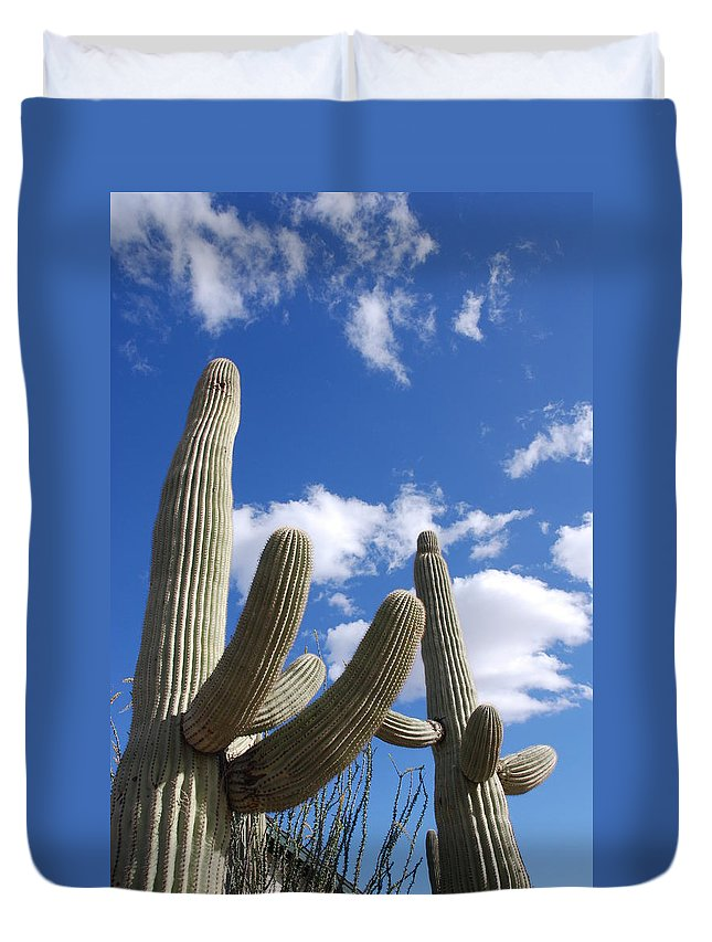 Photography Duvet Cover featuring the photograph Saguaro Cacti by Susanne Van Hulst