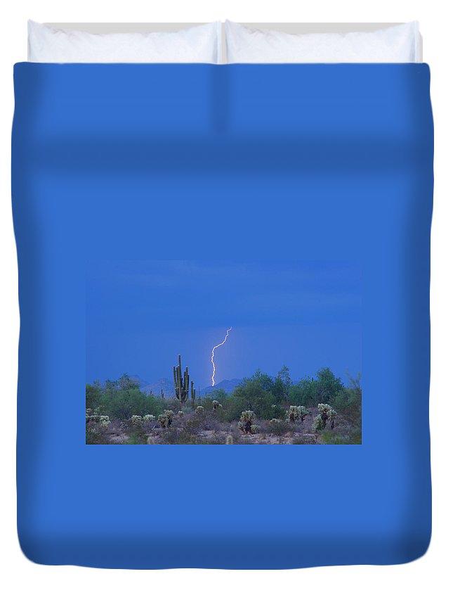 Lightning Duvet Cover featuring the photograph Saguaro Desert Lightning Strike Fine Art by James BO Insogna