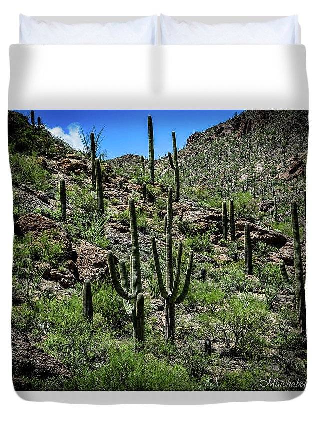 Landscape Photography Duvet Cover featuring the photograph Saguaro Hillside by Eric M Bass