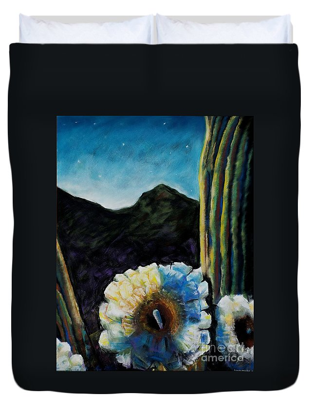Desert Duvet Cover featuring the painting Saguaro In Bloom by Frances Marino