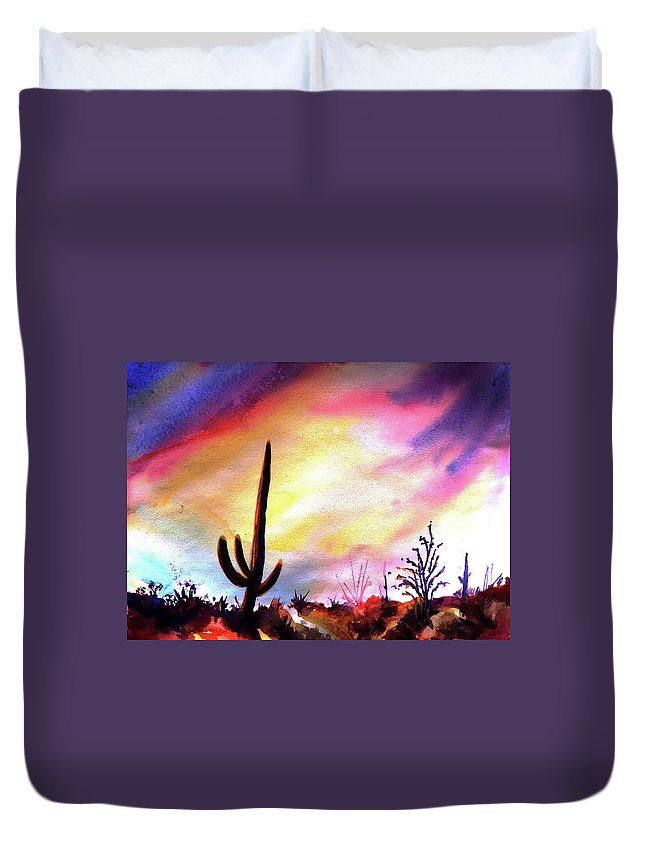 Saguaro Duvet Cover featuring the painting Saguaro National Monument by Victoria Wills