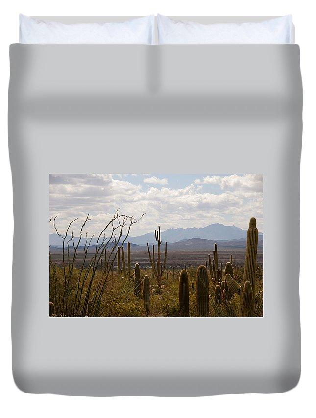 Saguaro Duvet Cover featuring the photograph Saguaro National Park Az by Susanne Van Hulst