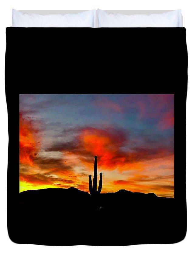 Duvet Cover featuring the photograph Saguaro Sunrise by Joy Elizabeth