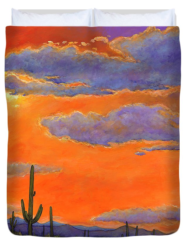 Southwest Art Duvet Cover featuring the painting Saguaro Sunset by Johnathan Harris