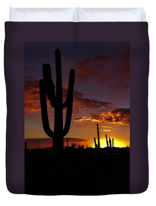 Saguaro National Park Duvet Cover featuring the photograph Saguaro Sunset Silhouette #2 by Susan Rissi Tregoning