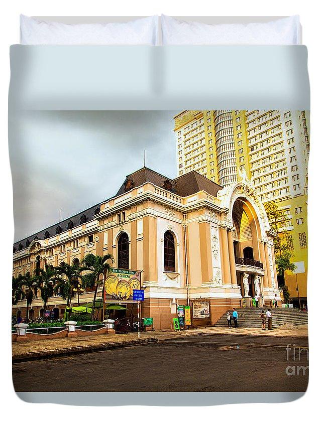 Saigon's Opera House Duvet Cover featuring the photograph Saigon's Opera House Vietnam by Rene Triay Photography