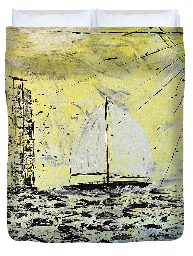 Abstract Duvet Cover featuring the painting Sail And Sunrays by J R Seymour