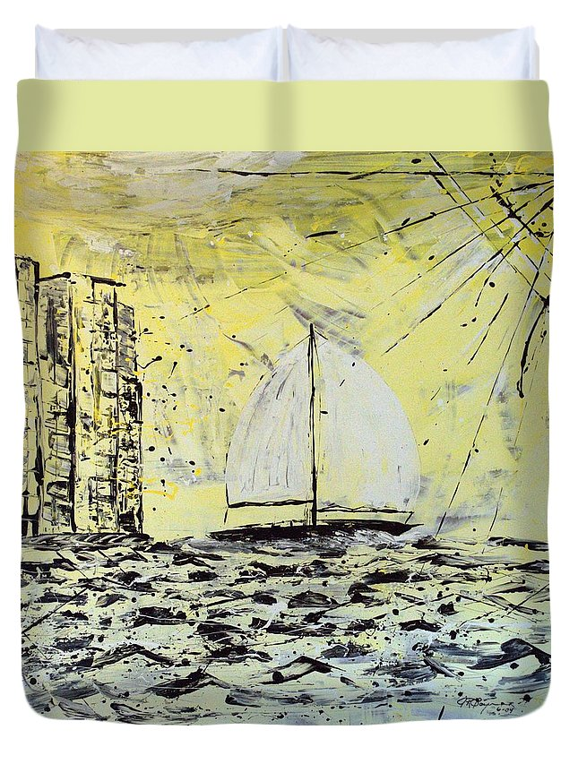 Sailboat With Sunray Duvet Cover featuring the painting Sail And Sunrays by J R Seymour