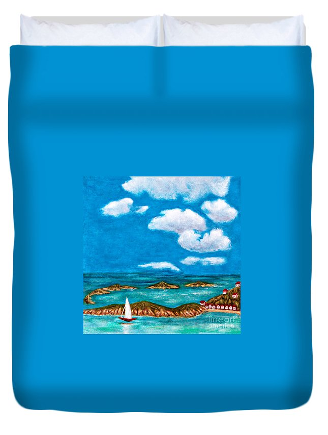 Anne Alfaro Duvet Cover featuring the painting Sail Around The Islands by Anne Alfaro