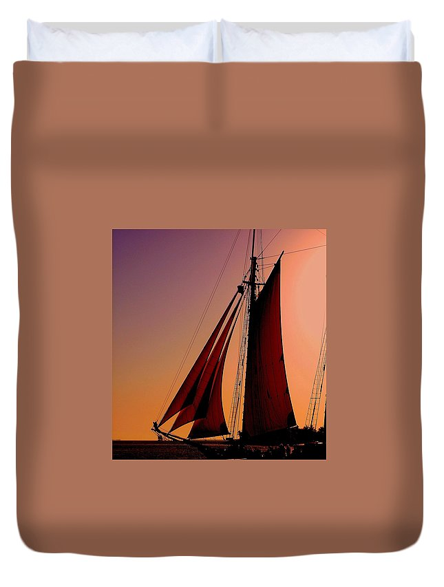 Sailing Duvet Cover featuring the photograph Sail At Sunset by Susanne Van Hulst