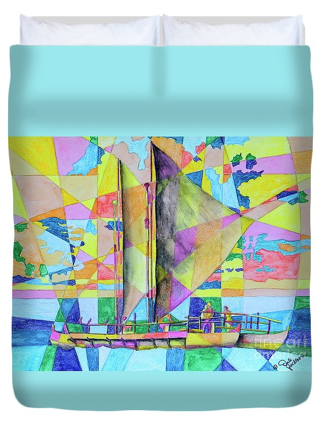 Sails Duvet Cover featuring the painting Sail Away Sunset by Dale Jackson