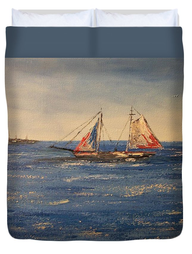 Marine Duvet Cover featuring the painting Sail boat in Charleston by Tami Booher