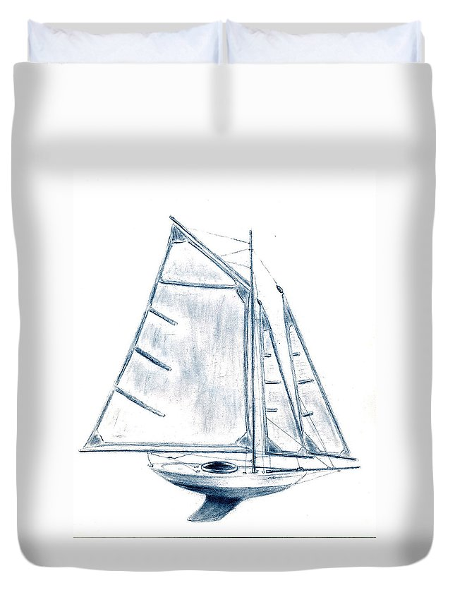 Boat Duvet Cover featuring the drawing Sail Boat by Michael Vigliotti