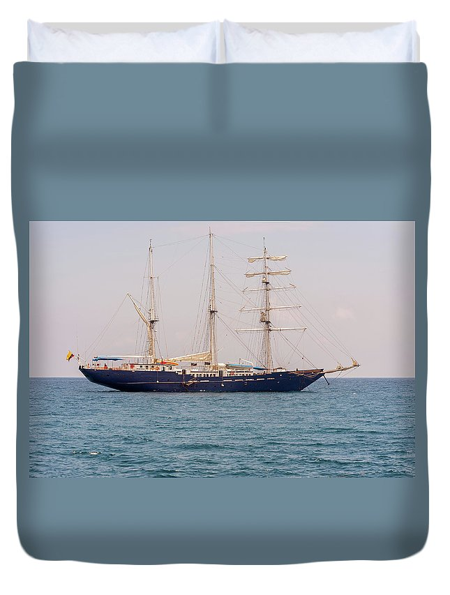 Santa Cruz Duvet Cover featuring the photograph Sail Boat Near Galapagos Islands On Pacific Ocean by Marek Poplawski