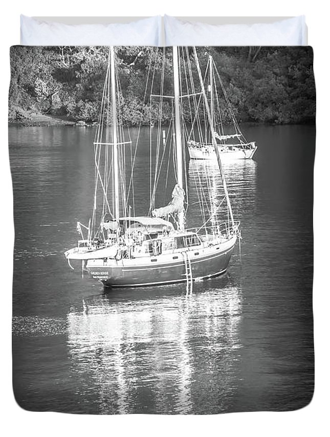 Modern Duvet Cover featuring the photograph Sail Boat Yaht Parked At Harbor Bay by Alex Grichenko