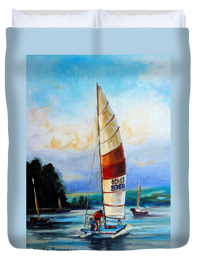 Sail Boats On The Lake Duvet Cover featuring the painting Sail Boats On The Lake by Carole Spandau