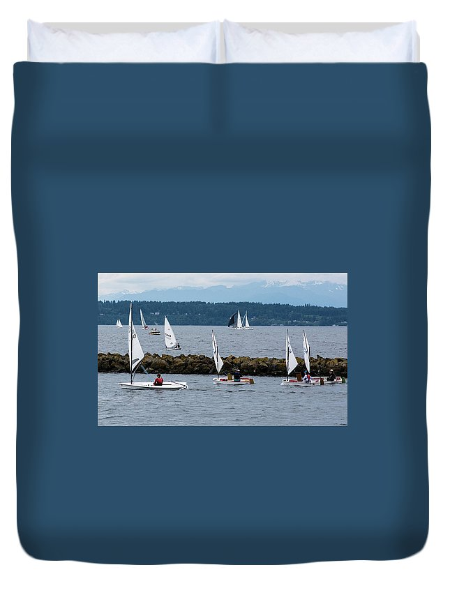 Puget Sound Duvet Cover featuring the photograph Sail On by Robert Briggs