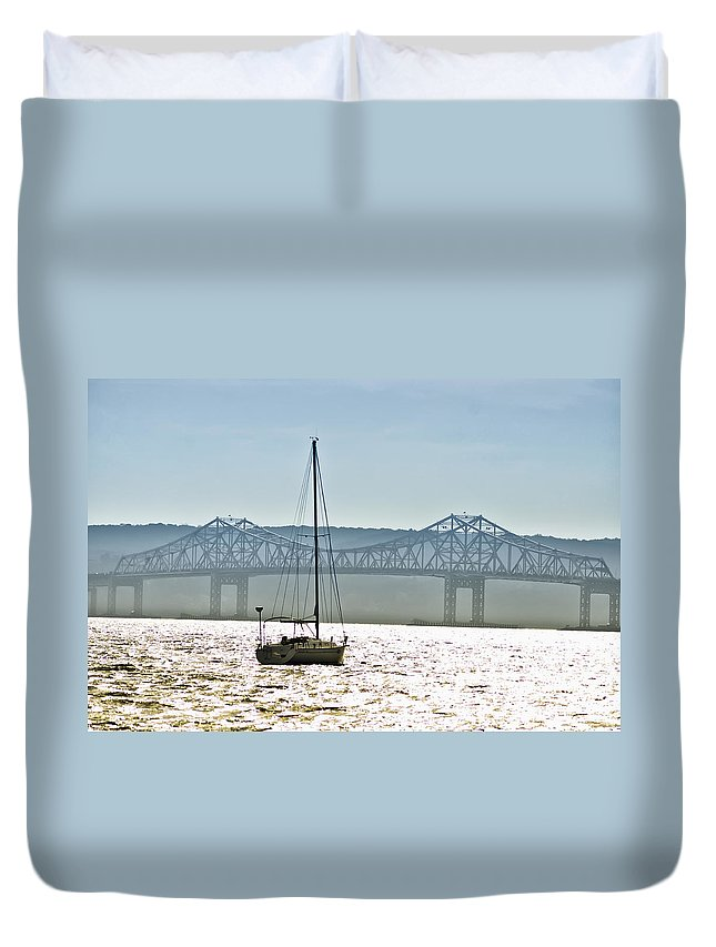 Tappan Zee Bridge Duvet Cover featuring the photograph Sailboat And The Tappan Zee Bridge by Bill Cannon