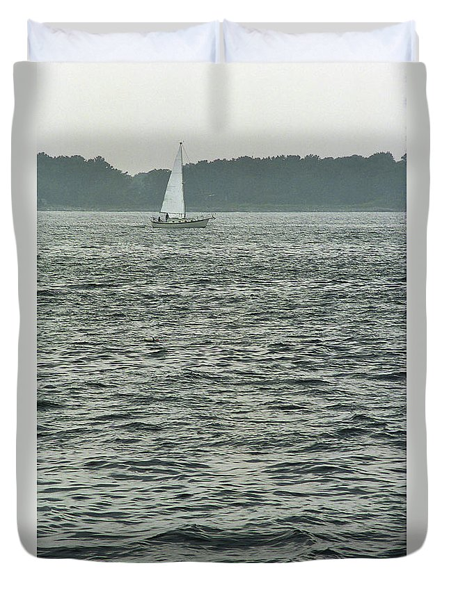 Adventure Duvet Cover featuring the photograph Sailboat And Waves, Piscataqua River, Maine 2004 by Frank Romeo