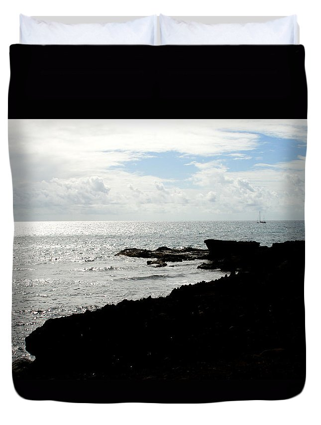 Sailboat Duvet Cover featuring the photograph Sailboat At Point by Jean Macaluso