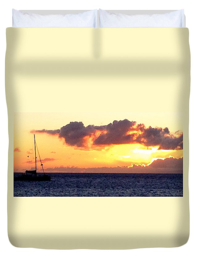 Ocean Duvet Cover featuring the photograph Sailboat At Sunset by Bethany Morrow
