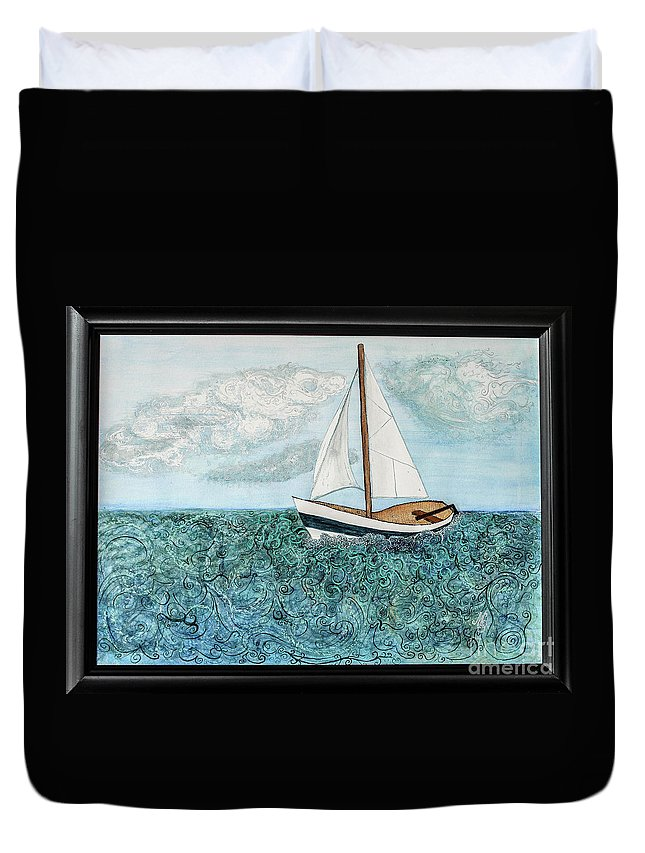Sailboat Duvet Cover featuring the painting Sailboat Daydream by Mary Shawn Newins