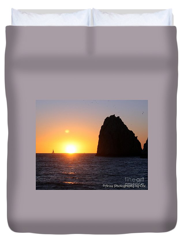 Cabo Duvet Cover featuring the photograph Sailboat In The Sunset Cabo San Lucas Mexico by Charlene Cox