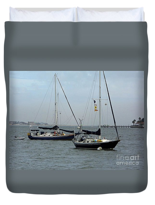 Dock Duvet Cover featuring the photograph Sailboats In The Inlet by D Hackett