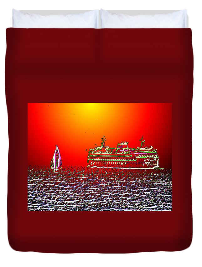 Sail Duvet Cover featuring the photograph Sailin The Sound by Tim Allen