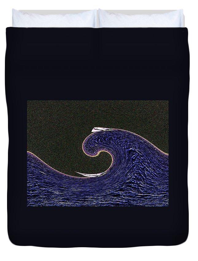 Sail Duvet Cover featuring the digital art Sailin The Wave by Tim Allen