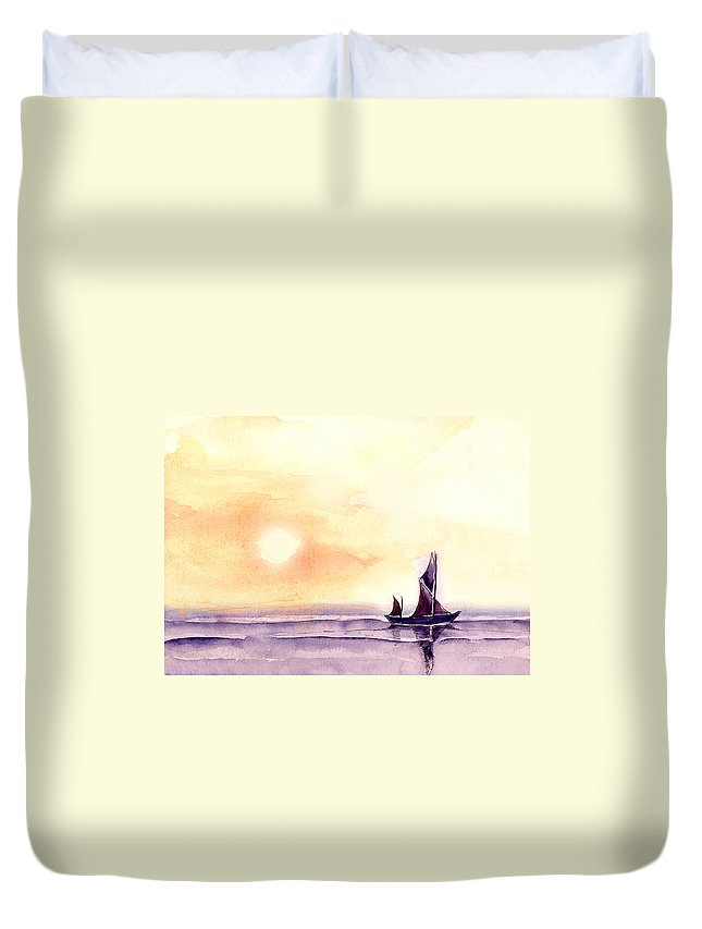 Nature Duvet Cover featuring the painting Sailing by Anil Nene