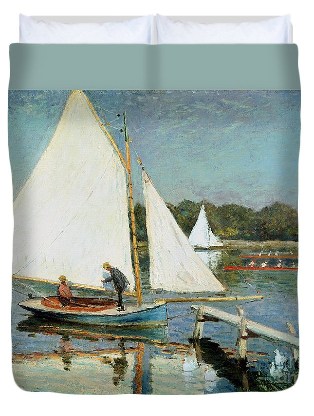 Rowing; Scull; Sail Boat; Jetty; Canotiers A Argenteuil Duvet Cover featuring the painting Sailing At Argenteuil by Claude Monet