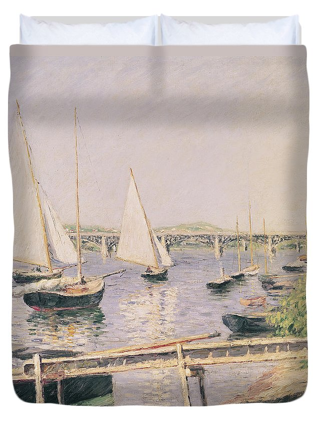 Yachting Duvet Cover featuring the painting Sailing Boats At Argenteuil by Gustave Caillebotte