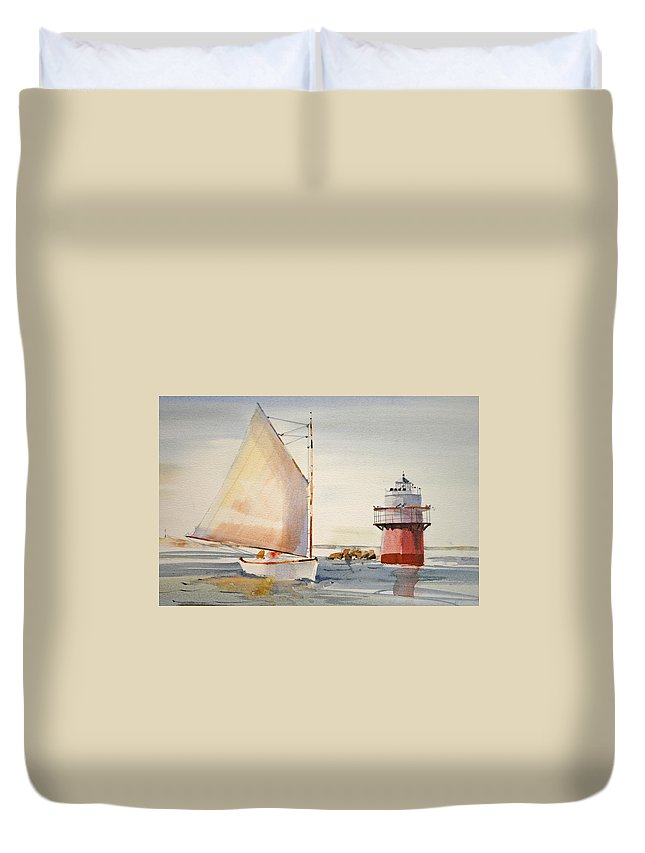 Lighthouse Duvet Cover featuring the painting Sailing By Buglight by P Anthony Visco