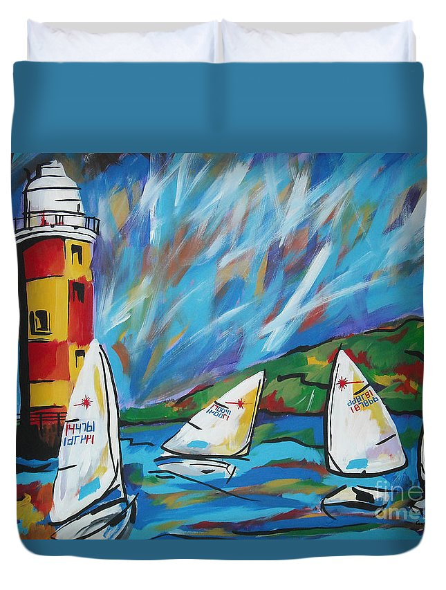 Sailboat Duvet Cover featuring the painting Sailing by Caroline Davis