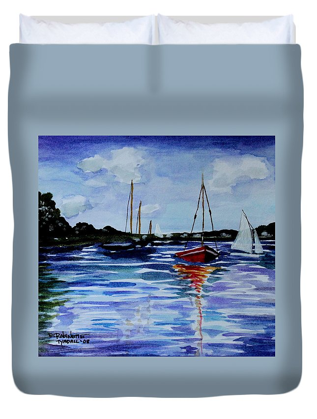 Sailing Duvet Cover featuring the painting Sailing Day by Elizabeth Robinette Tyndall