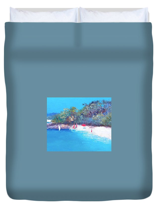 Sailing Duvet Cover featuring the painting Sailing Day by Jan Matson