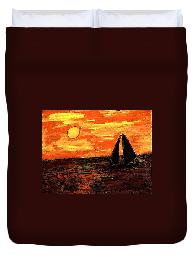 Sailing Duvet Cover featuring the painting Sailing Home At Sunset by Wayne Potrafka