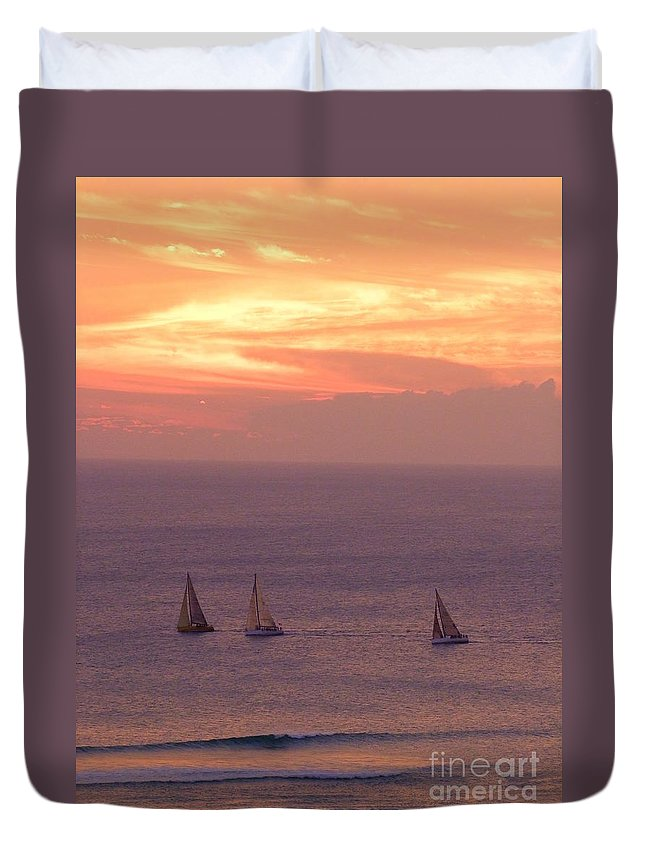 Sailing Duvet Cover featuring the photograph Sailing In The Golden Glow by Mary Deal