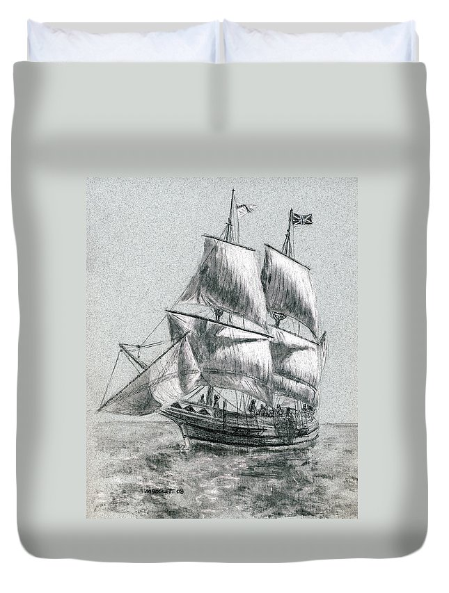 Seascape Duvet Cover featuring the drawing Sailing by Michael Beckett