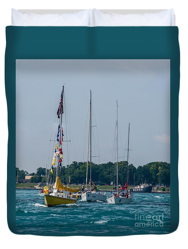 Sailing Duvet Cover featuring the photograph Sailing North by Grace Grogan