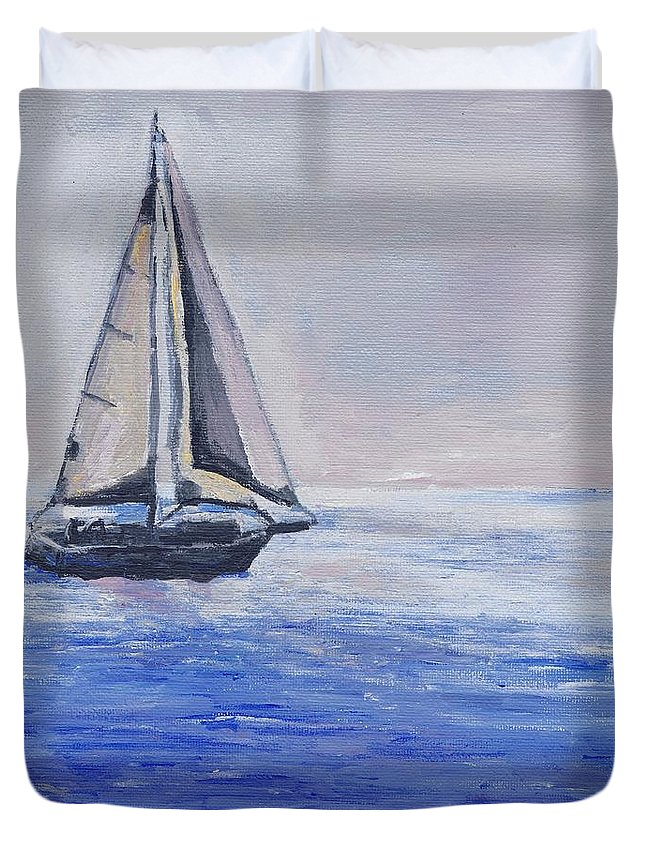 Sunset Duvet Cover featuring the painting Sailing Off Cape May Point by Eric Schiabor